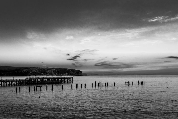 Swanage Piers Swanage Bay Dorset Black and White