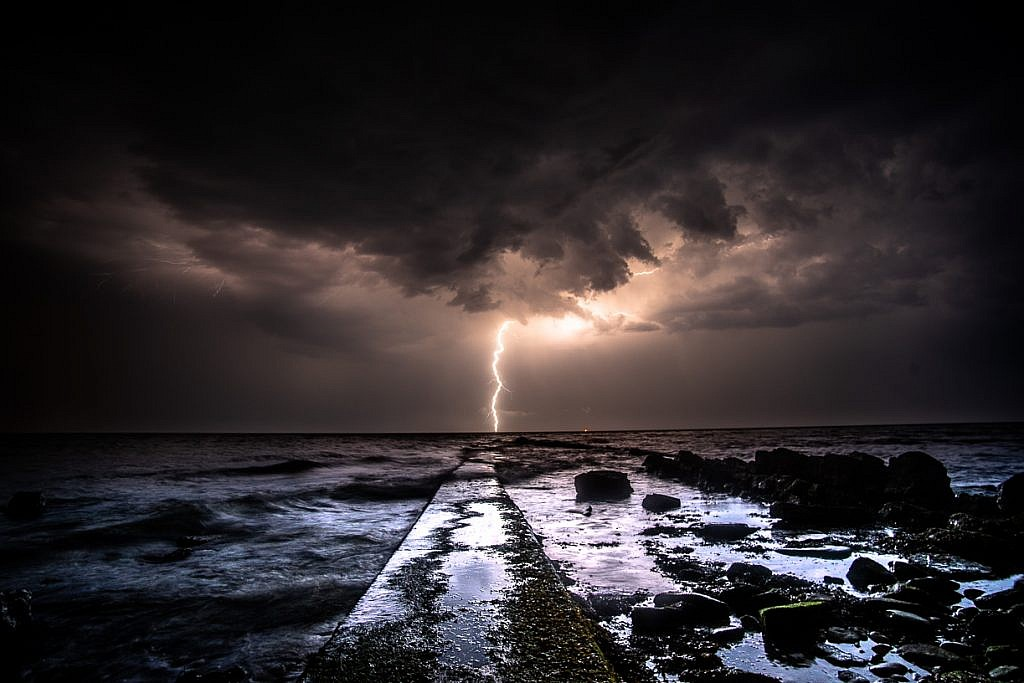 Peveril Point Swanage Lightning Picture