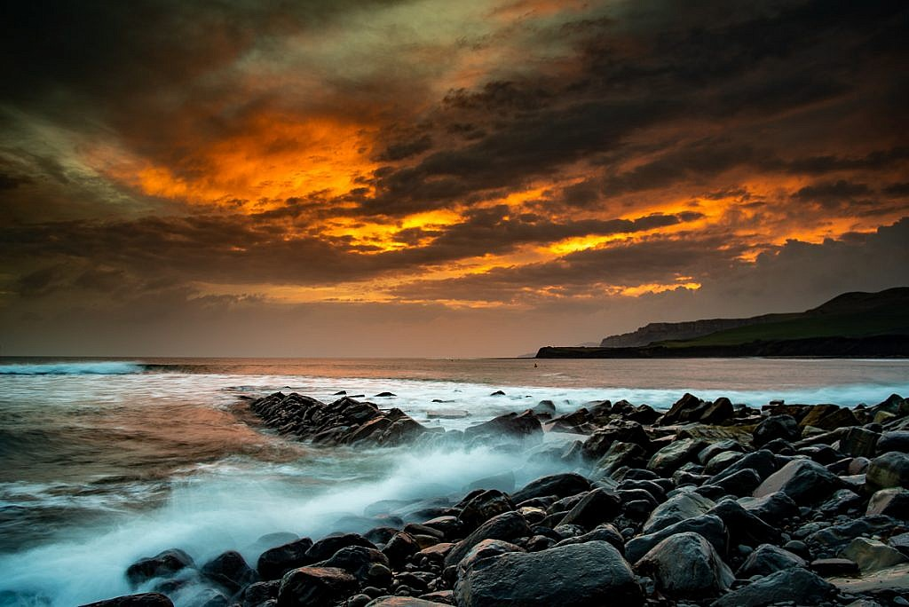 Kimmeridge Sunset Fire Print