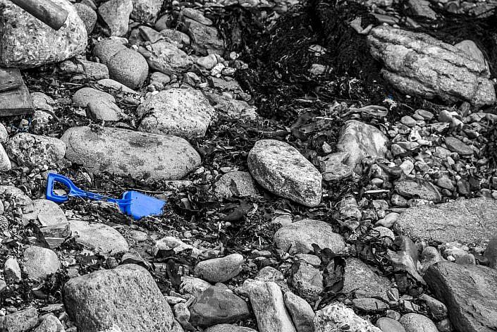 Plastic Spade Swanage Beach Pollution