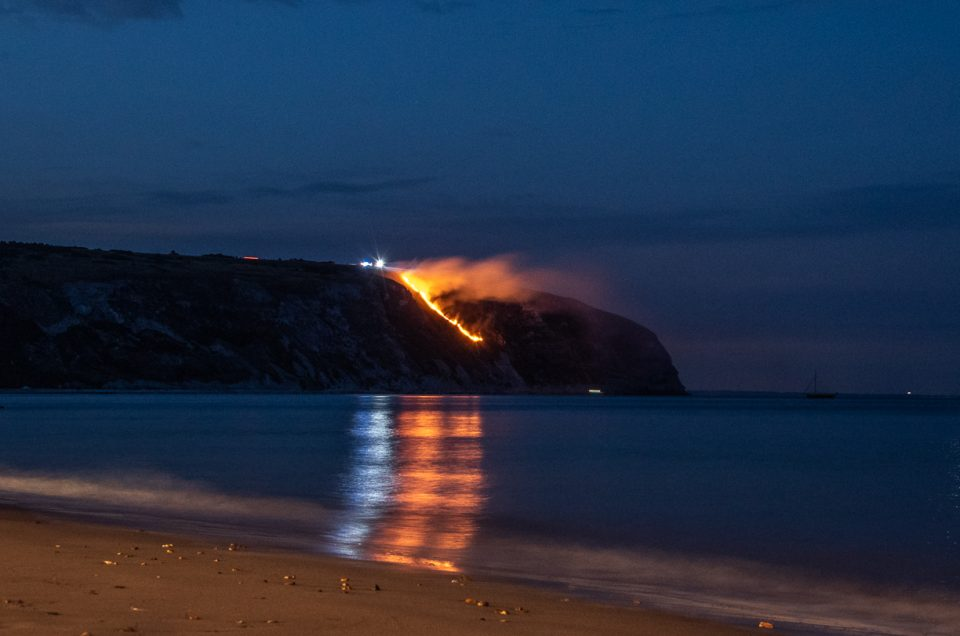 Ballard Down Fire Swanage Bay