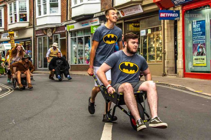 Batman T Shirts Amber Bay Swanage Carnival Wheel Barrow Race
