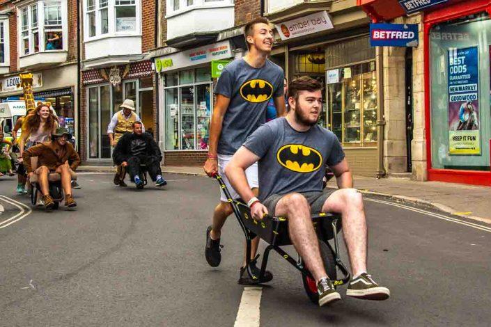Batman T Shirts Amber Bay Swanage Carnival Wheel Barrow Race