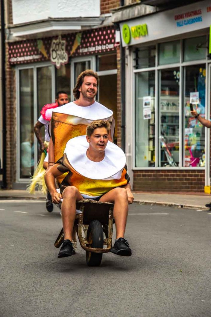 Beer Cans Amber Bay Swanage Carnival Wheel Barrow Race