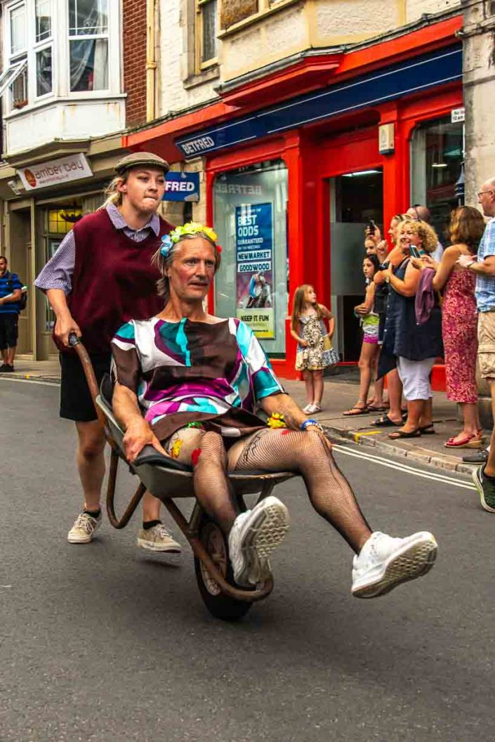 Flat Cap Amber Bay Swanage Carnival Wheel Barrow Race
