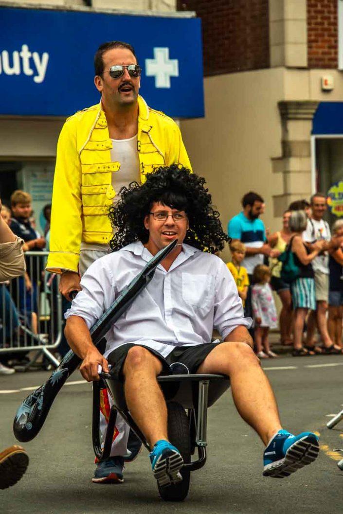 Freddy Mercury Brian May Boots Carnival Wheelbarrow Race