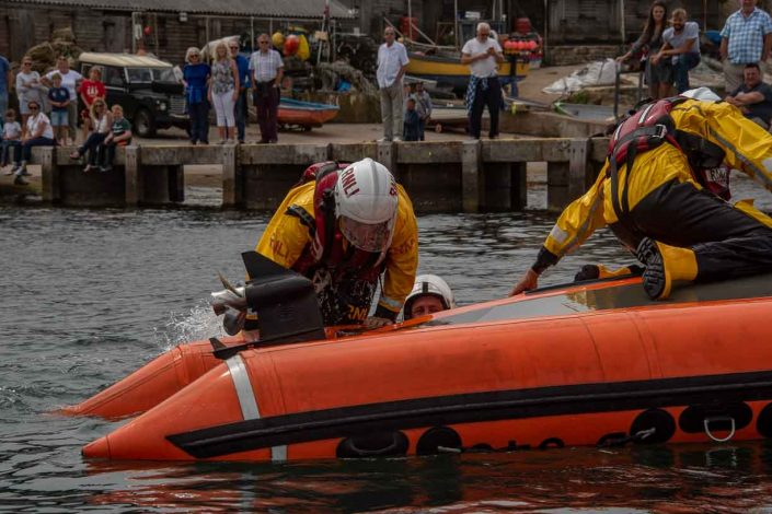 Swanage volunteer lifeboat crew demonstrate D class capsize training help others