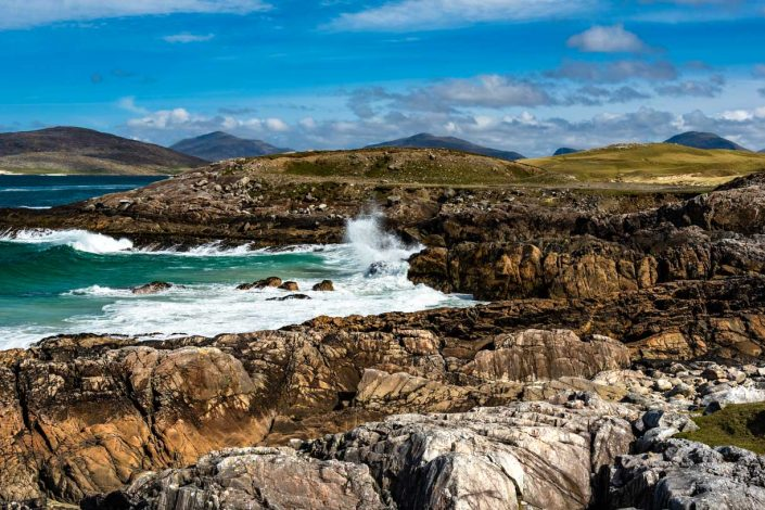 Waves Break on Coastline Isle of Harris Photograph