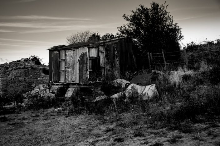 Rusty Dorset Shed black and white photography